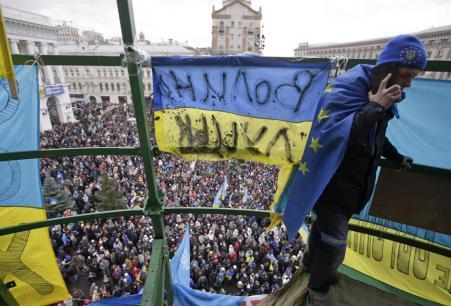Miembros del Sector de Derechas durante una marcha de grupos de extrema derecha, entre ellos Svoboda, en Kiev (Reuters).